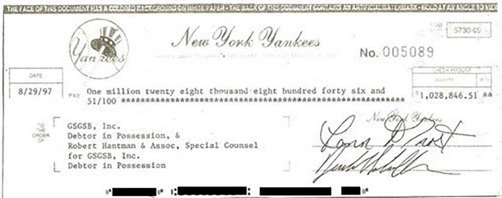 Awarded – $1,028,846.51 check from NY Yankees
