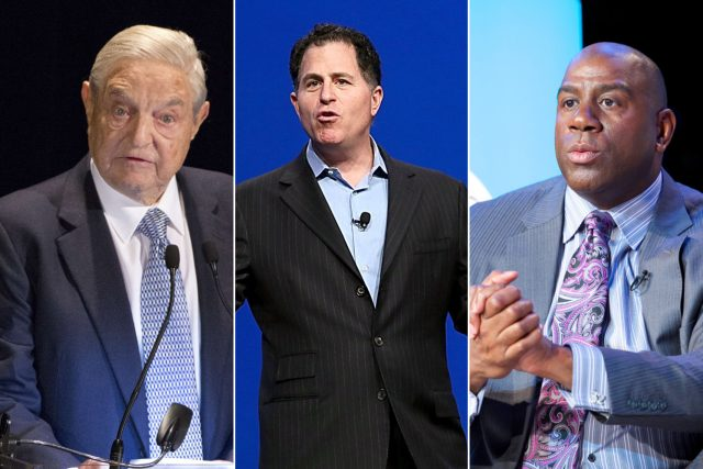 From left: George Soros, Michael Dell and Magic Johnson